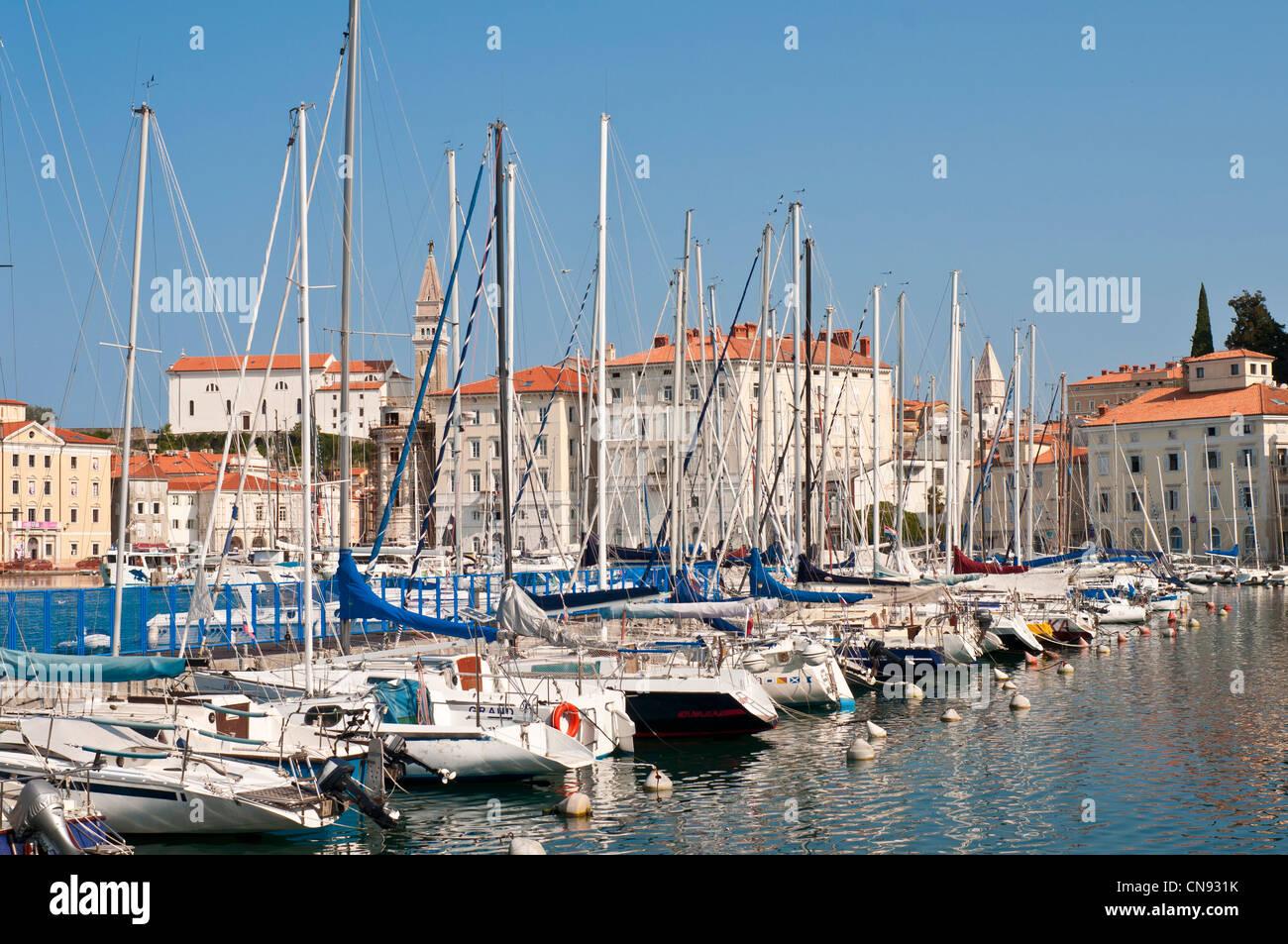 Slovenia, Gulf of Trieste, Adriatic Coast, Primorska Region, Piran, the harbour - Stock Image