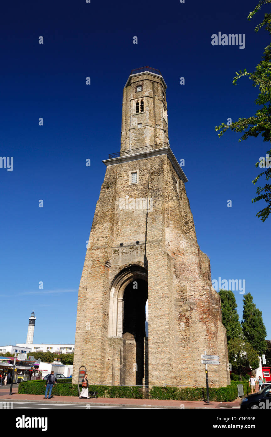 France, Pas-de-Calais, Calais, Watch Tower of Calais built by Charlemagne - Stock Image