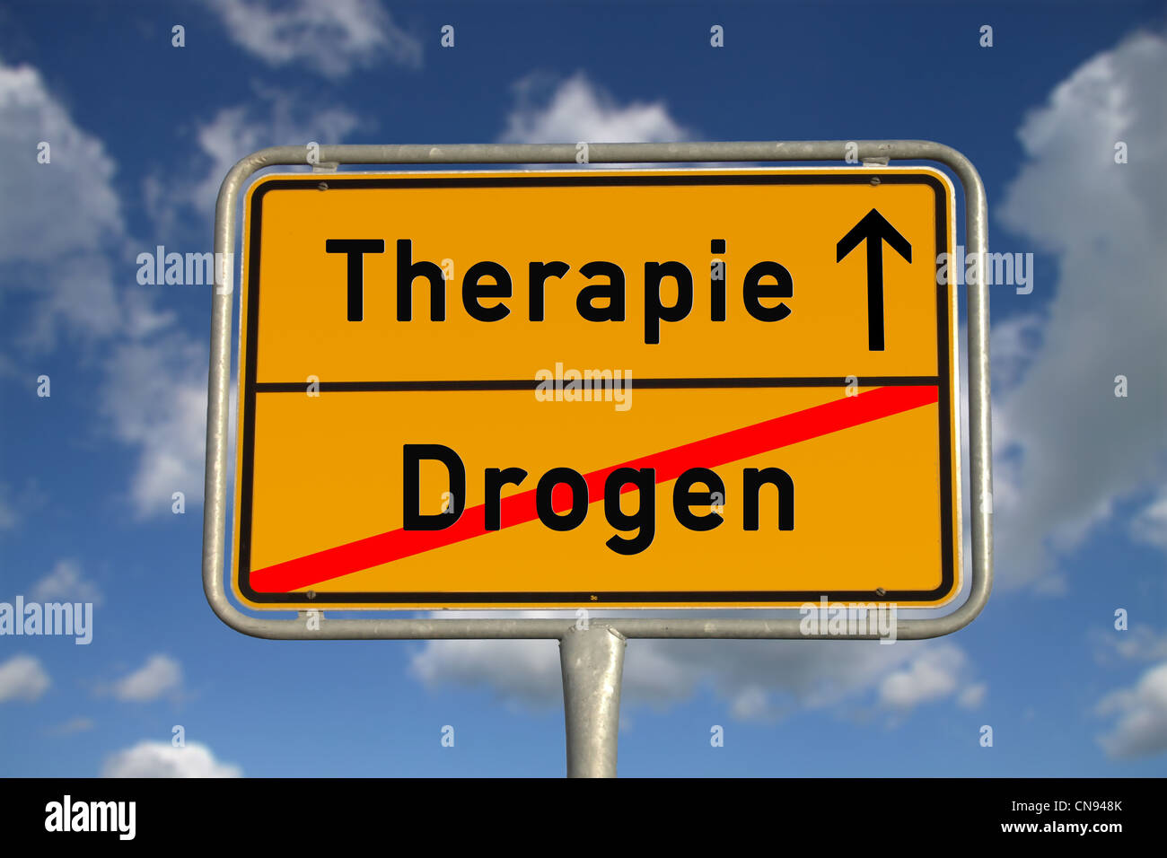 German road sign drugs and therapy with blue sky and white clouds - Stock Image