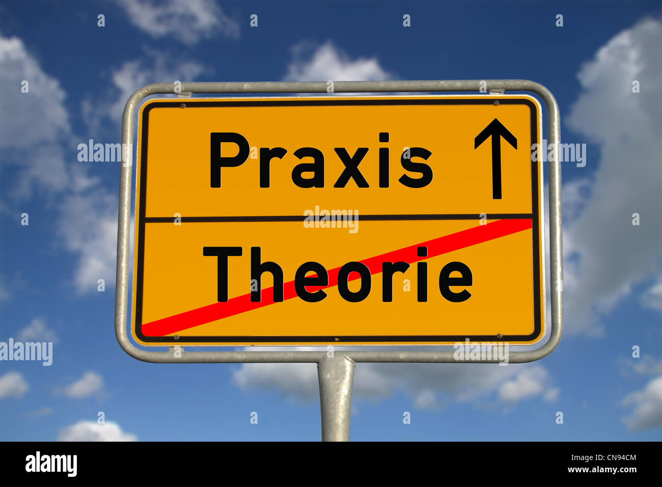 German road sign theory and praxis with blue sky and white clouds - Stock Image