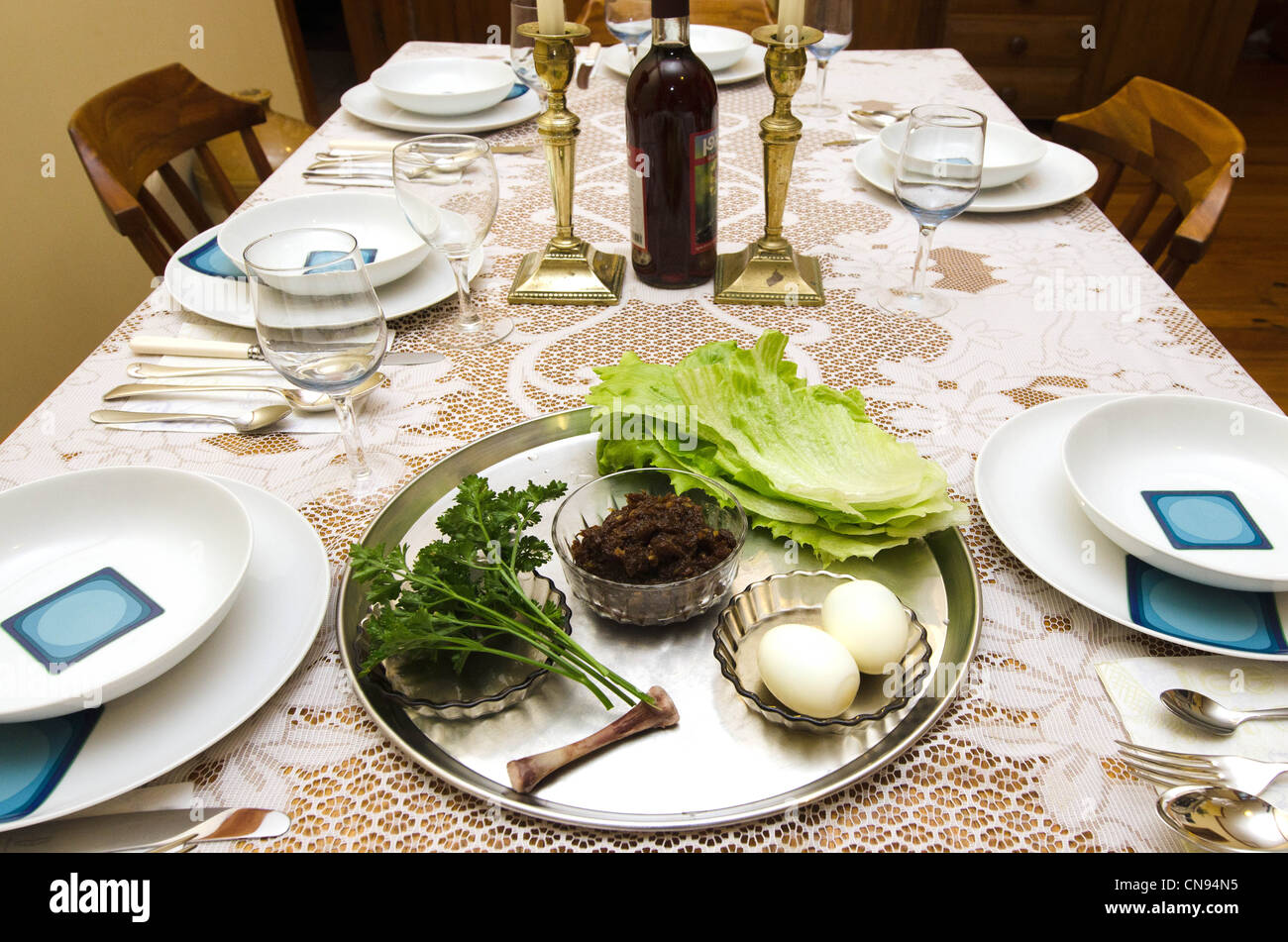 Passover Seder table. - Stock Image