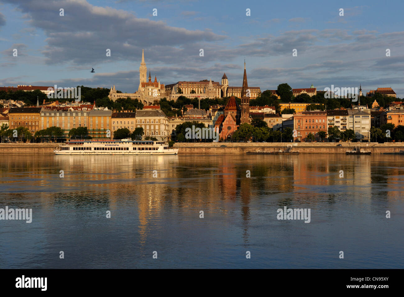 Hungary, Budapest, Saint Mathias church, Fishers' bastion, Castle Hill listed as World Heritage by UNESCO and - Stock Image