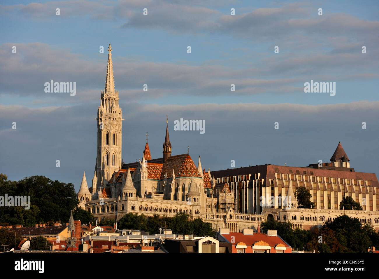 Hungary, Budapest, Saint Mathias church, Fishers' bastion, Castle Hill listed as World Heritage by UNESCO - Stock Image