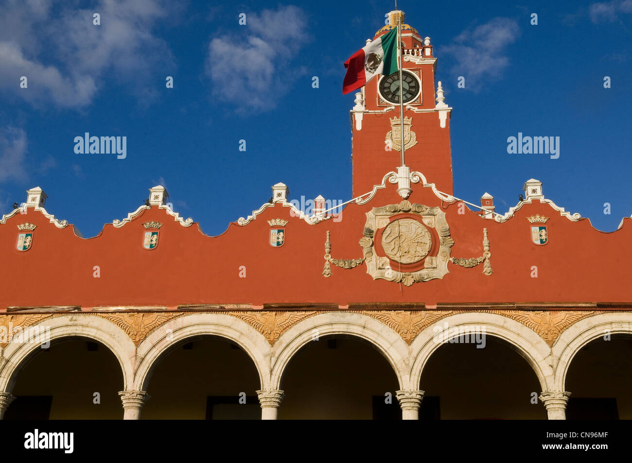 Mexico, Yucatan state, Merida, old center listed as World Heritage by UNESCO, old city hall on the zocalo - Stock Image