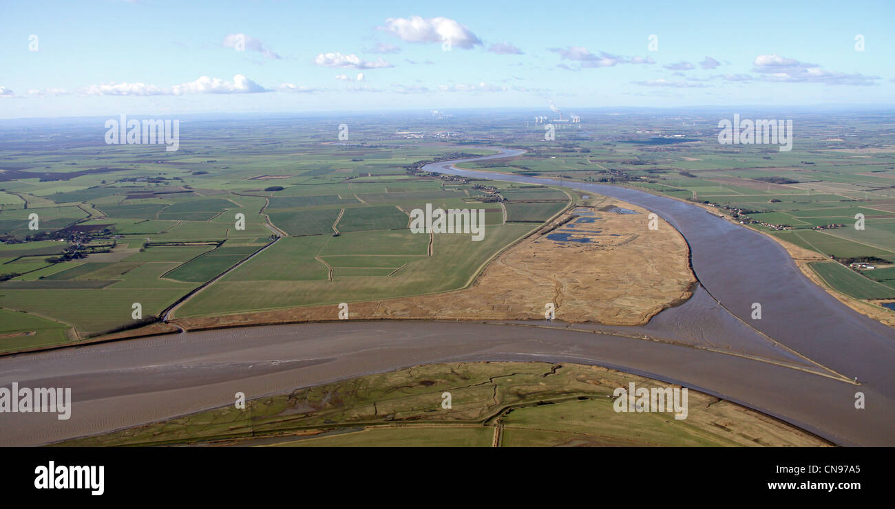 aerial view of Blacktoft Sands and Trent Falls, River Humber - Stock Image
