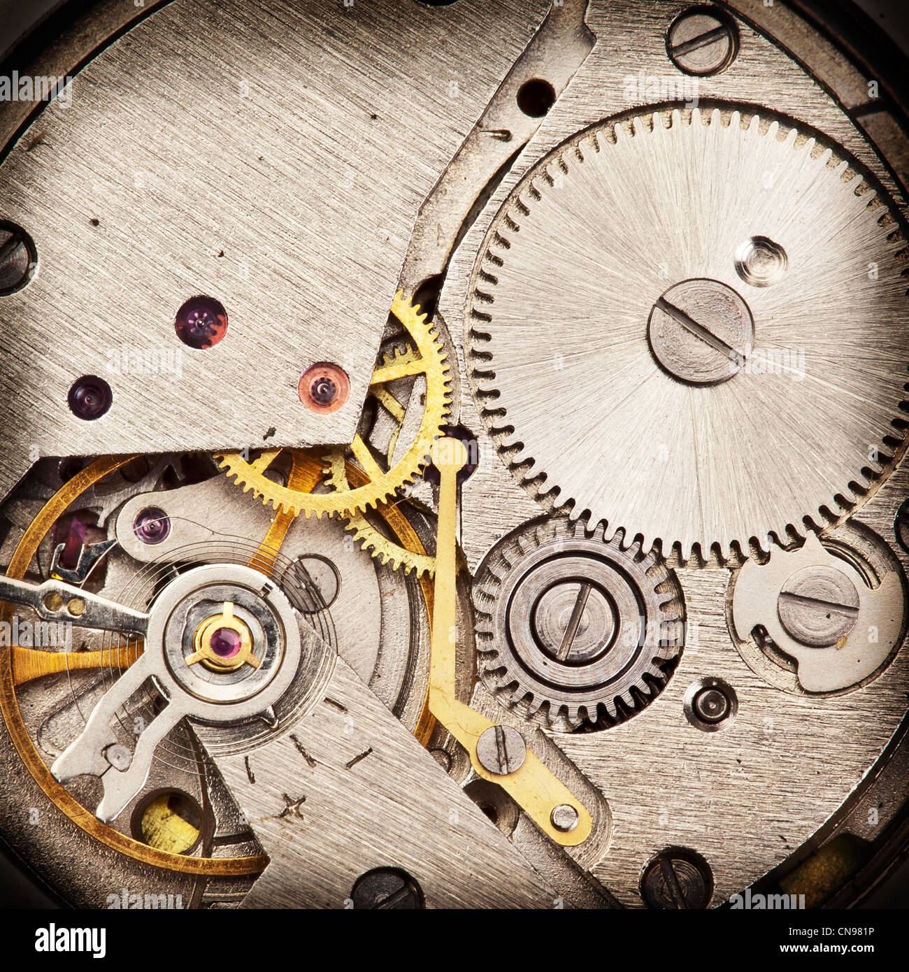 Mechanical clockwork. Close up shot. - Stock Image