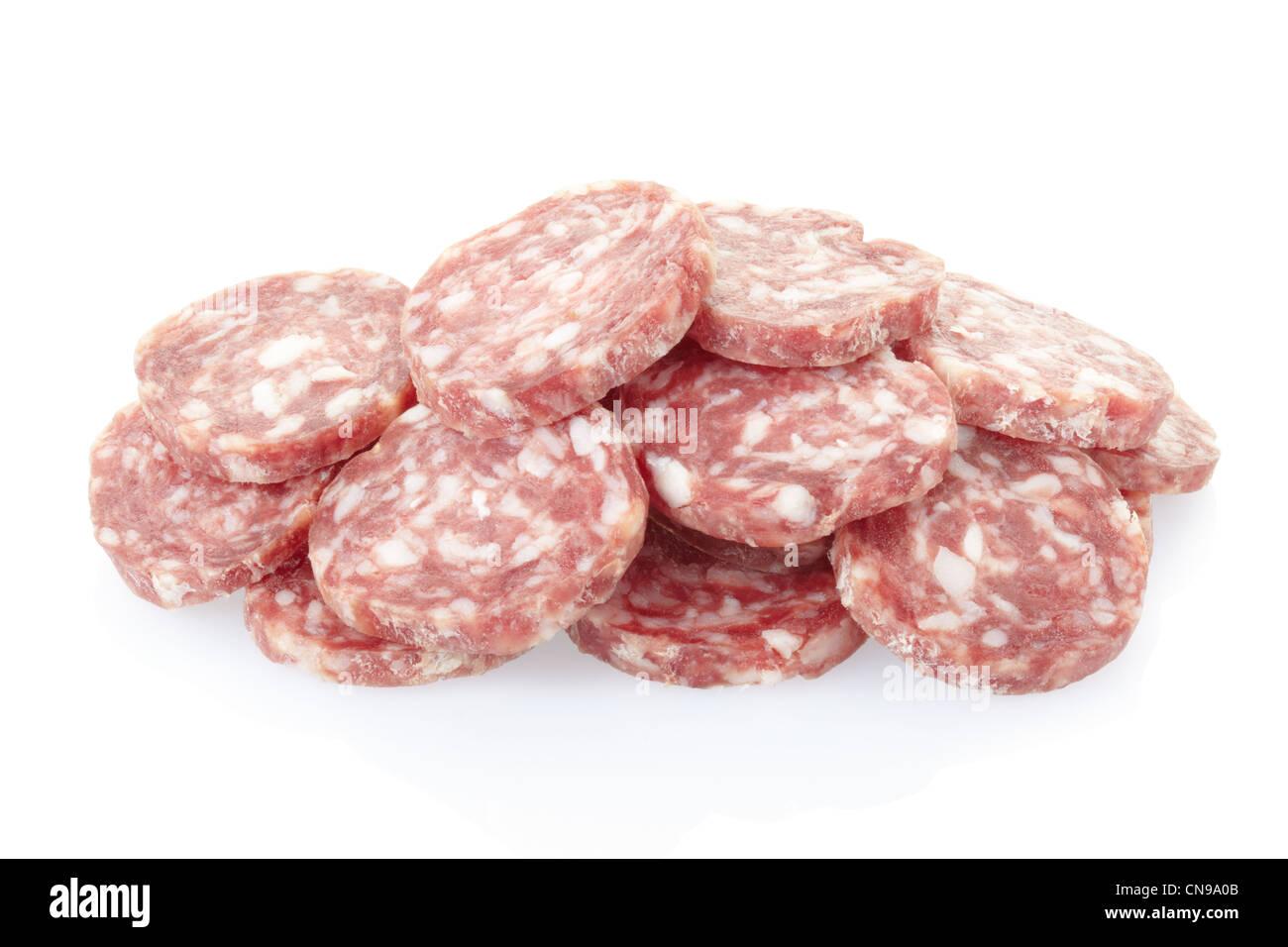 Salami slices pile - Stock Image