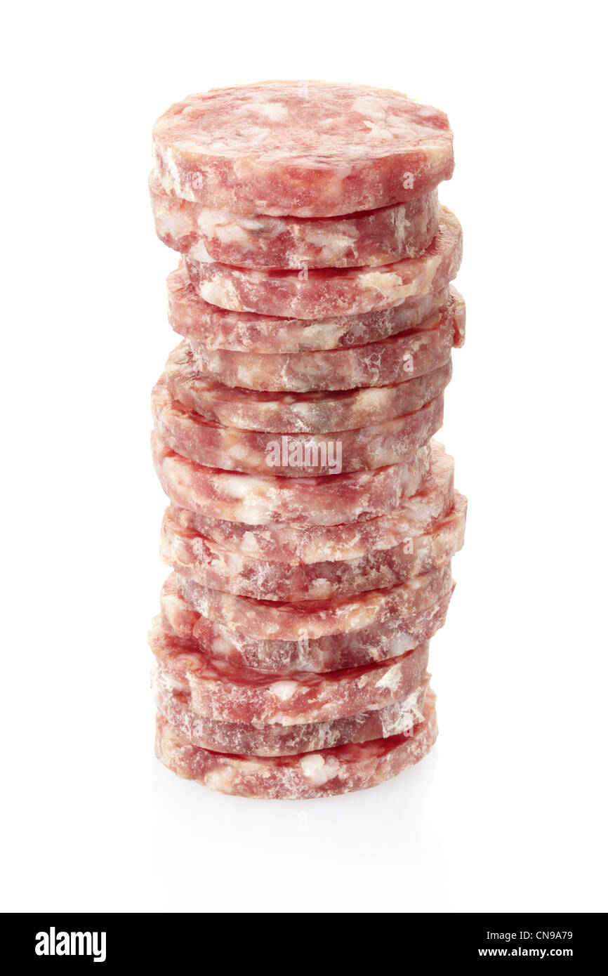 Salami slices pile - Stock Image