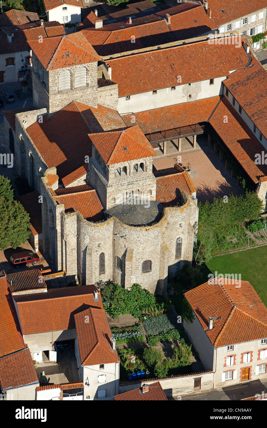 France, Loire, Champdieu, the church and the priory (aerial view) - Stock Image