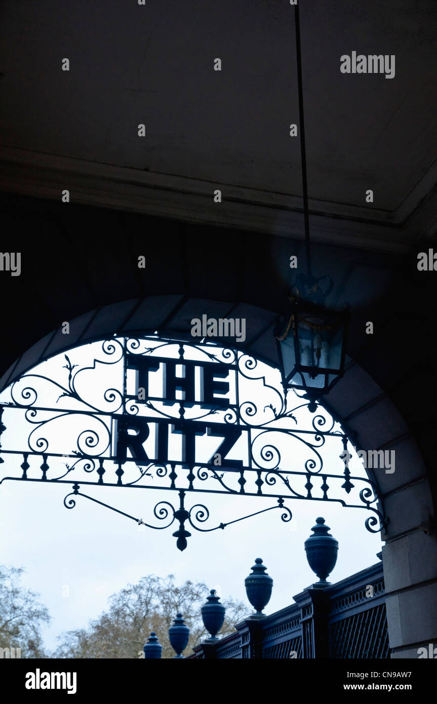 The Ritz Hotel, Piccadilly, London W1 - sign within ornate ironwork - shown in silhouette. - Stock Image