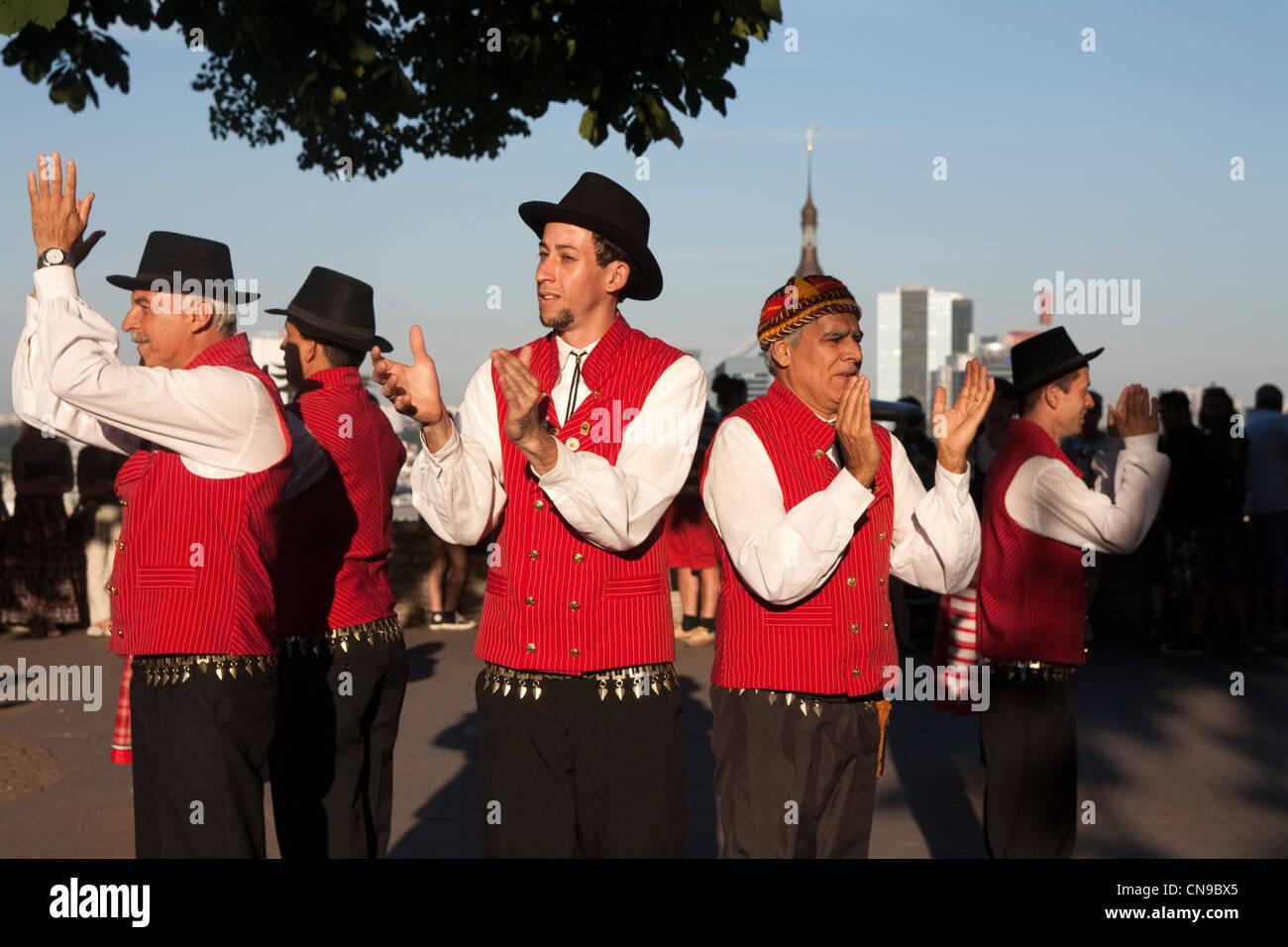 Estonia (Baltic States), Harju Region, Tallinn, folk dance on Toompea Hill Stock Photo