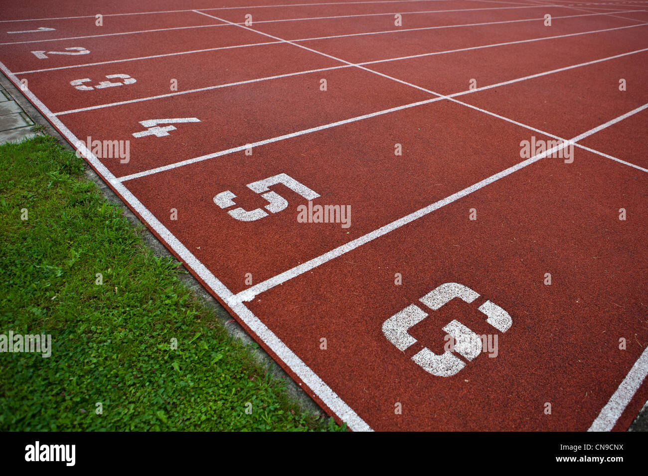 Sport grounds concept - Athletics Track Lane Numbers - Stock Image