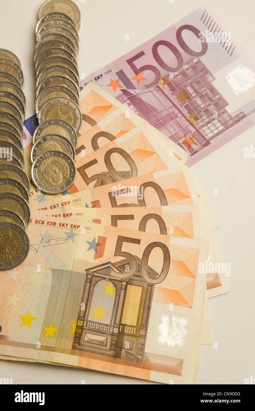 money euro cash billet billetes dinero fivety feve hundred - Stock Image