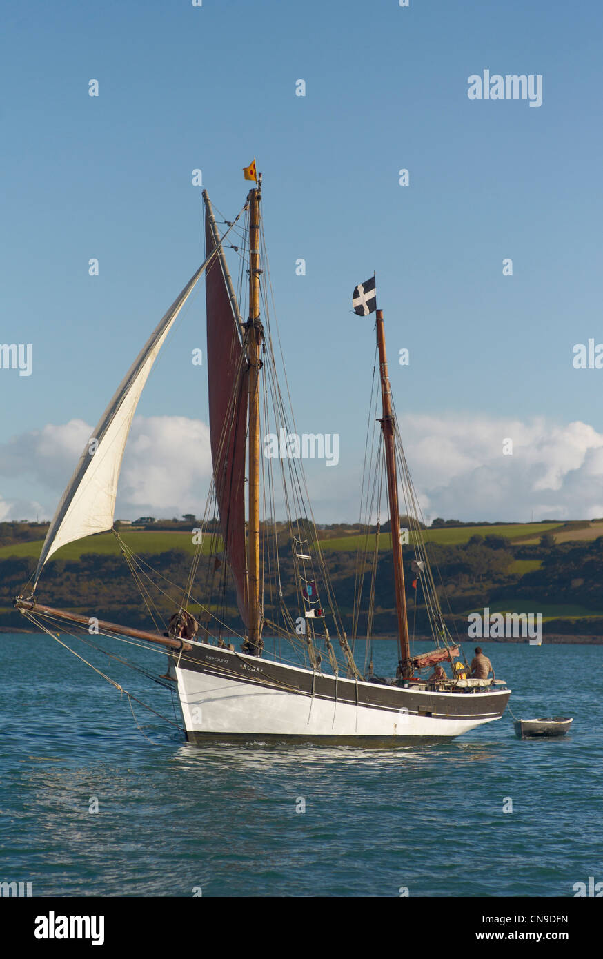 Traditional Woodend two masted sail boat on the Fal Estuary Cornwall England - Stock Image