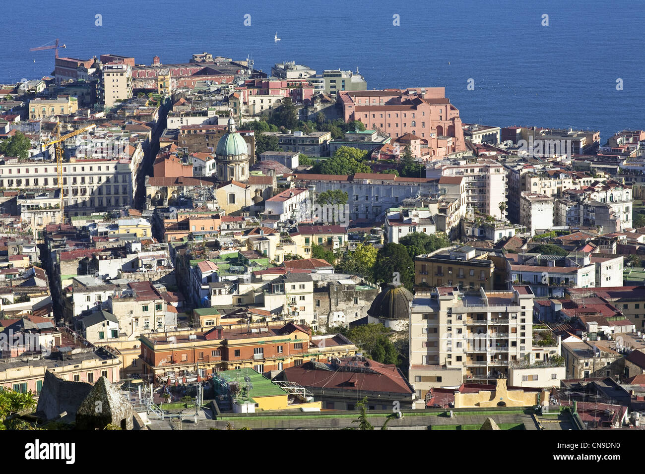 Italy, Campania, Naples, historic center, listed as World Heritage by UNESCO, view from the charterhouse San Martino - Stock Image