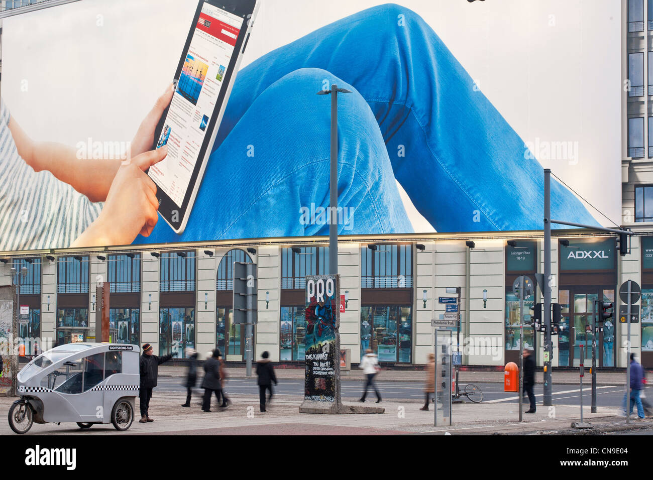 Germany, Berlin, Mitte, Postdamer Platz, an I-Pad advertisement - Stock Image