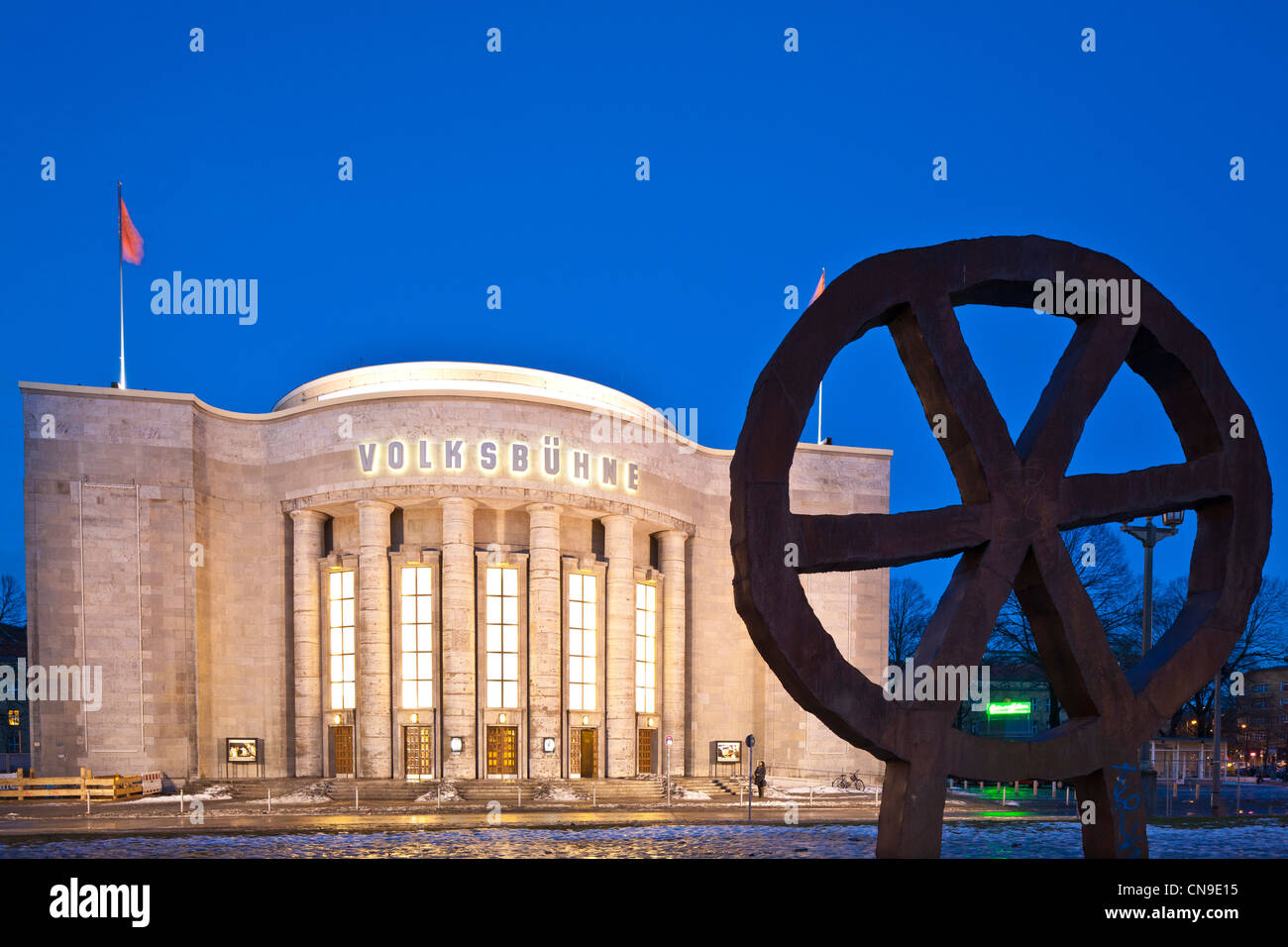 Germany, Berlin, Mitte, Rosa-Luxemburg-Platz, Volksbühne, a theater built in 1914 by architect Oskar Kaufmann, - Stock Image