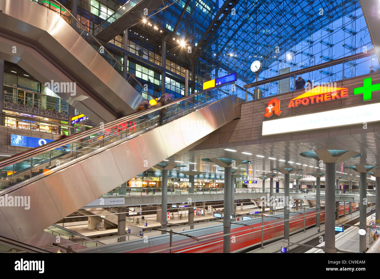 Germany, Berlin, Mitte, Hauptbahnhof, the biggest strain station in Europe, built by architect Meinhard von Gerkan, - Stock Image