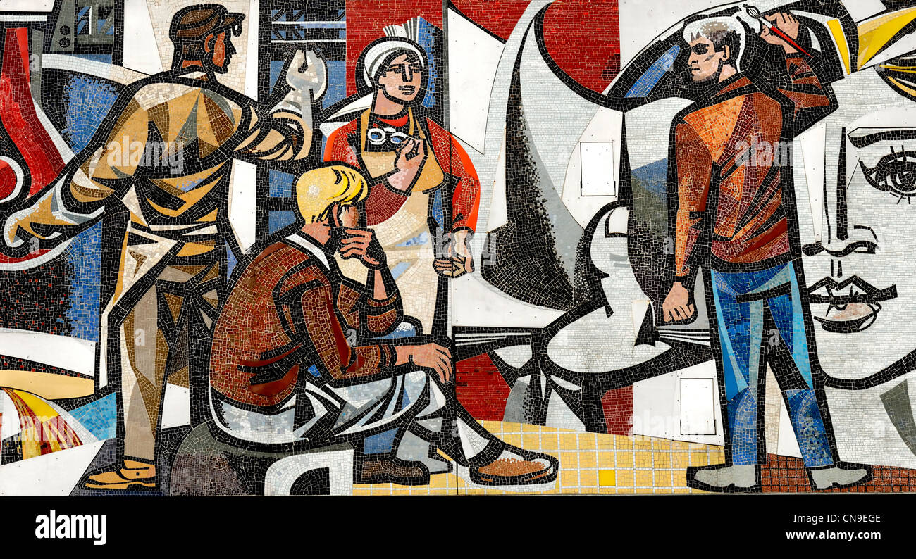 Berlin, Germany. Detail from 'Unsere Leben' ('Our Life') mosaic (1962-63) by Walter Womacka on the - Stock Image