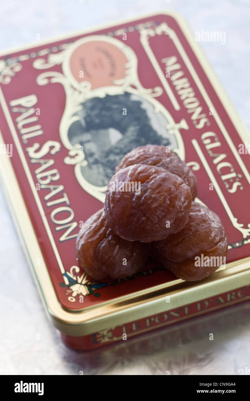 France, Ardeche, Aubenas, Candied chestnuts from home Sabaton - Stock Image