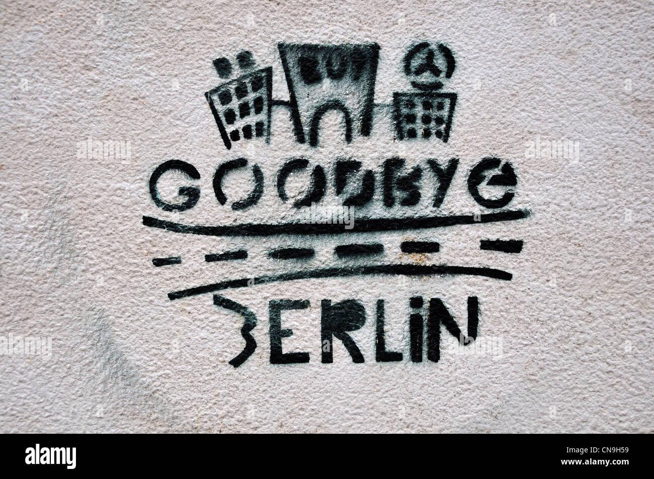 Berlin, Germany. 'Goodbye Berlin' stenciled graffiti in Wallstrasse - Stock Image