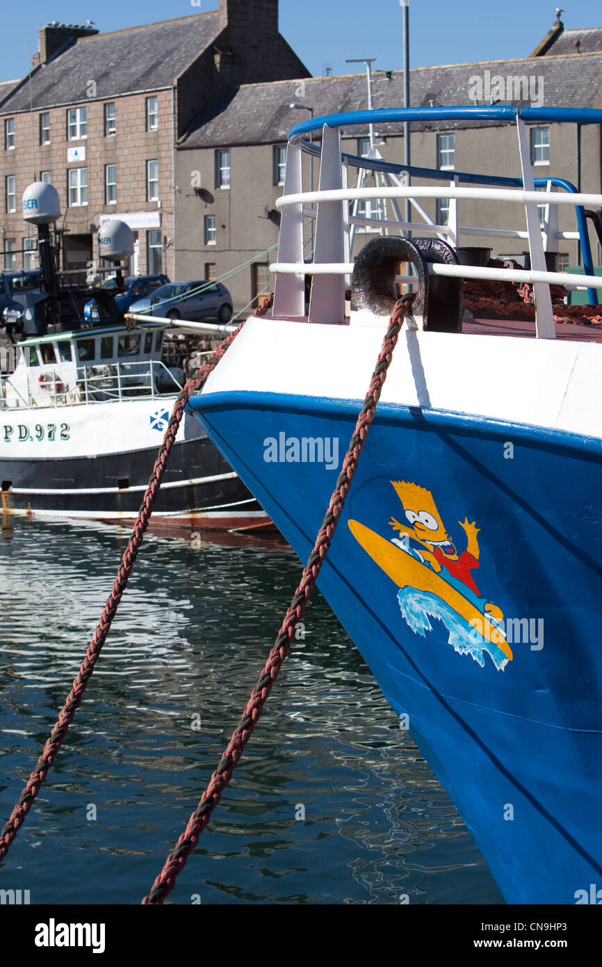 Bart Simpson painted on bow of  boat. - Stock Image
