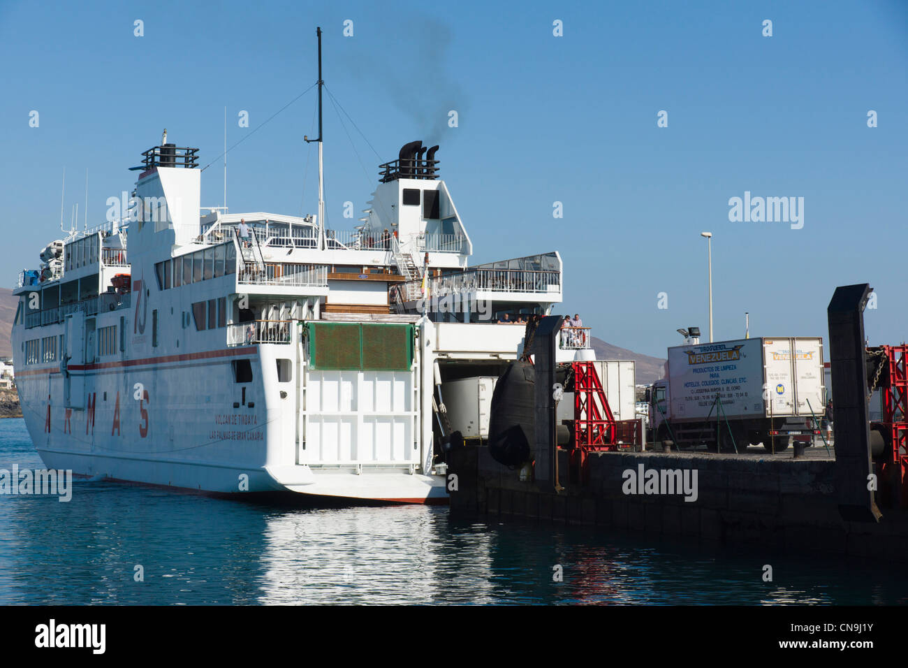 Lanzarote, Canary Islands - Playa Blanca. Commercial ARMAS line ferry to other Canary islands. - Stock Image