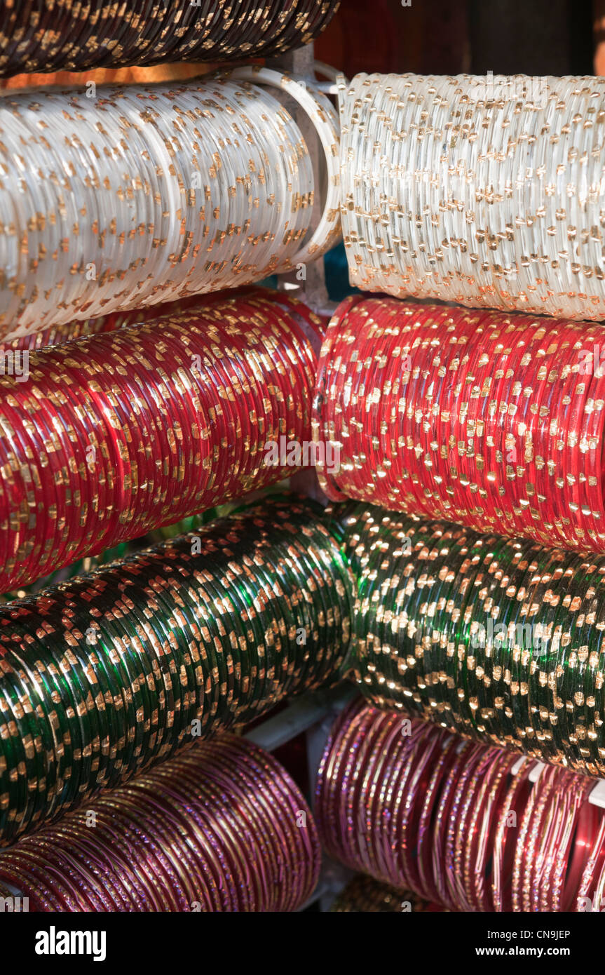 Colourful bangles at Laad Bazaar Hyderabad Andhra Pradesh India - Stock Image