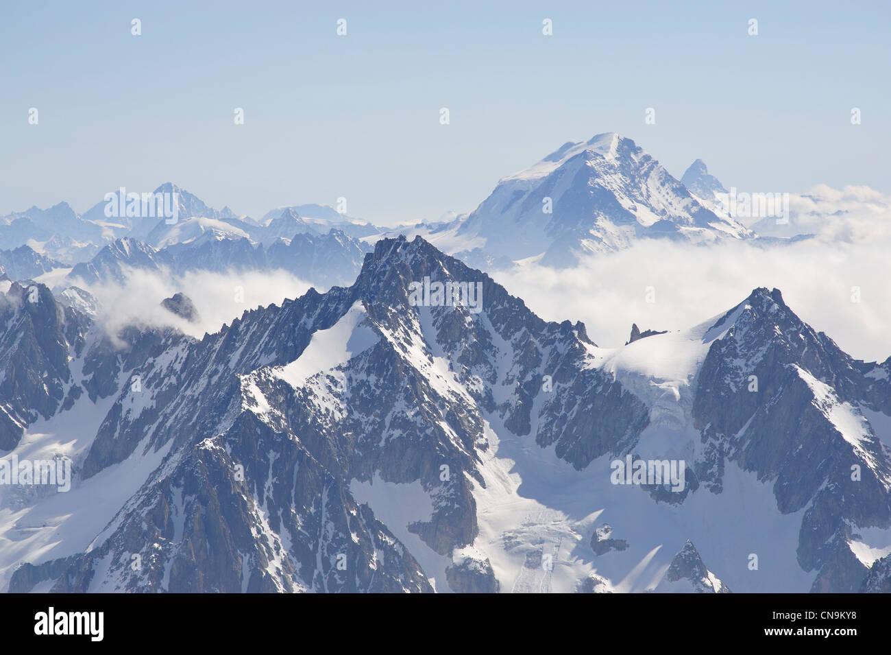France, Haute Savoie, Chamonix, Grand Combin (4314 m) seen from Aiguille du Midi - Stock Image