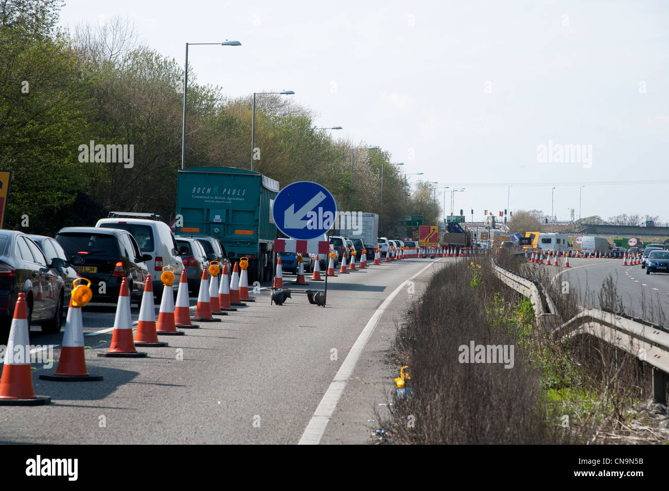 Roadworks on westbound carriageway of the A27 near Arundel - Stock Image