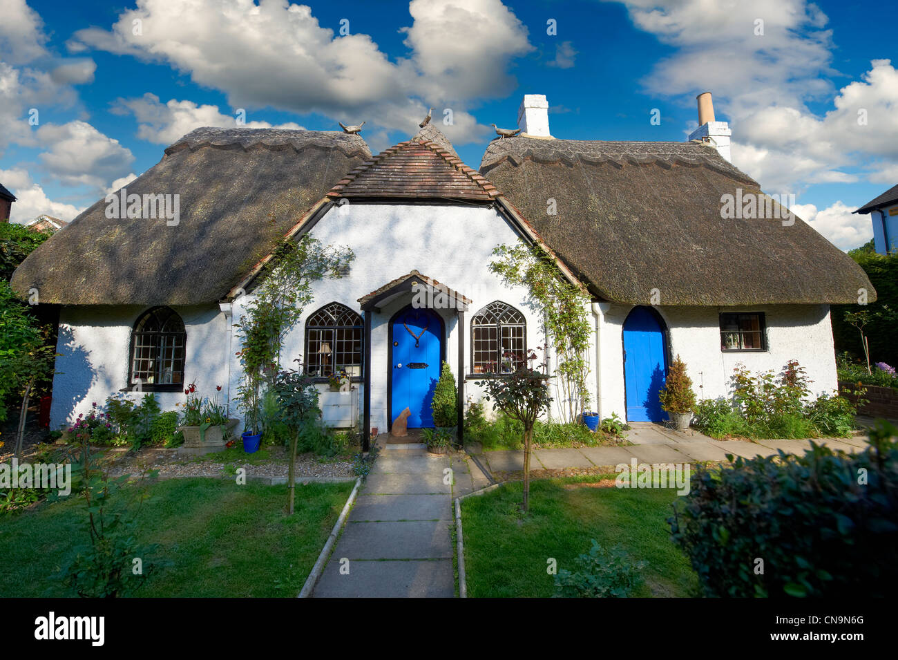 Thatched cottage in Moreton Road Buckingham, Bucks - Stock Image