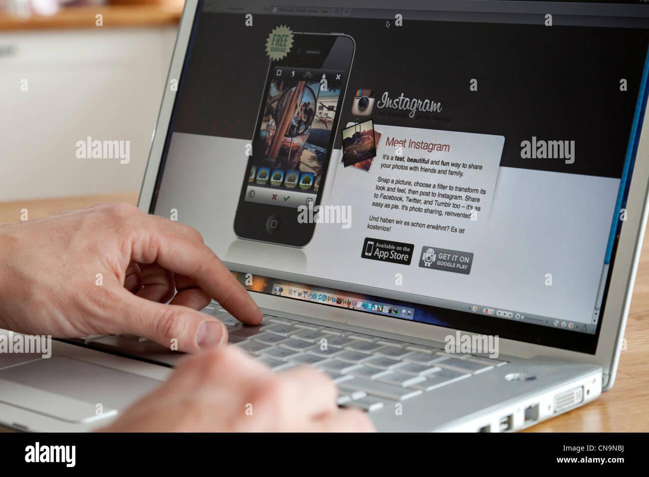 Website of the photo platform Instagram - Stock Image