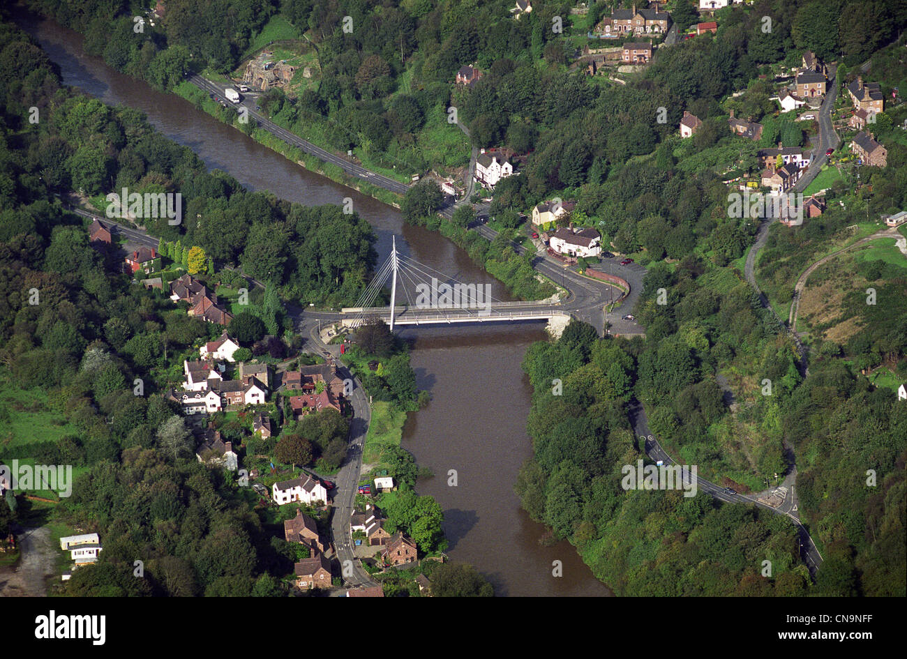 Aerial view of The Free Bridge Jackfield featuring Waterloo Rd and Wesley Rd Telford Shropshire England Uk Autumn - Stock Image