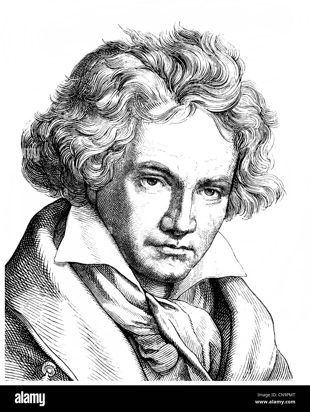 Historical drawing, 19th century, Ludwig van Beethoven, 1770 -1827, a German composer of the First Viennese School - Stock Image
