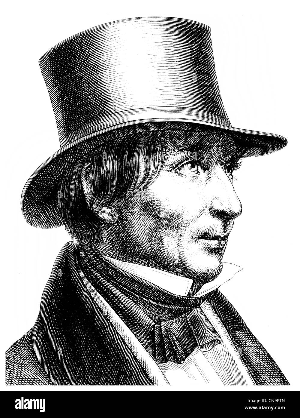 Historical drawing, Friedrich Carl von Savigny, 1779 - 1861, a German legal scholar and founder of the Historical - Stock Image