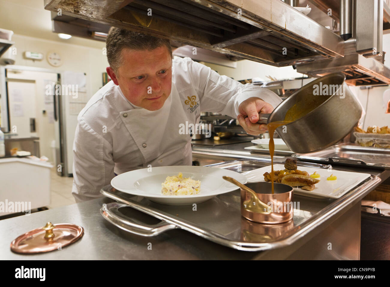 France, Finistere, Roscoff, Loïc Le Bail, chef at the Yachtsman Hotel Brittany - Stock Image
