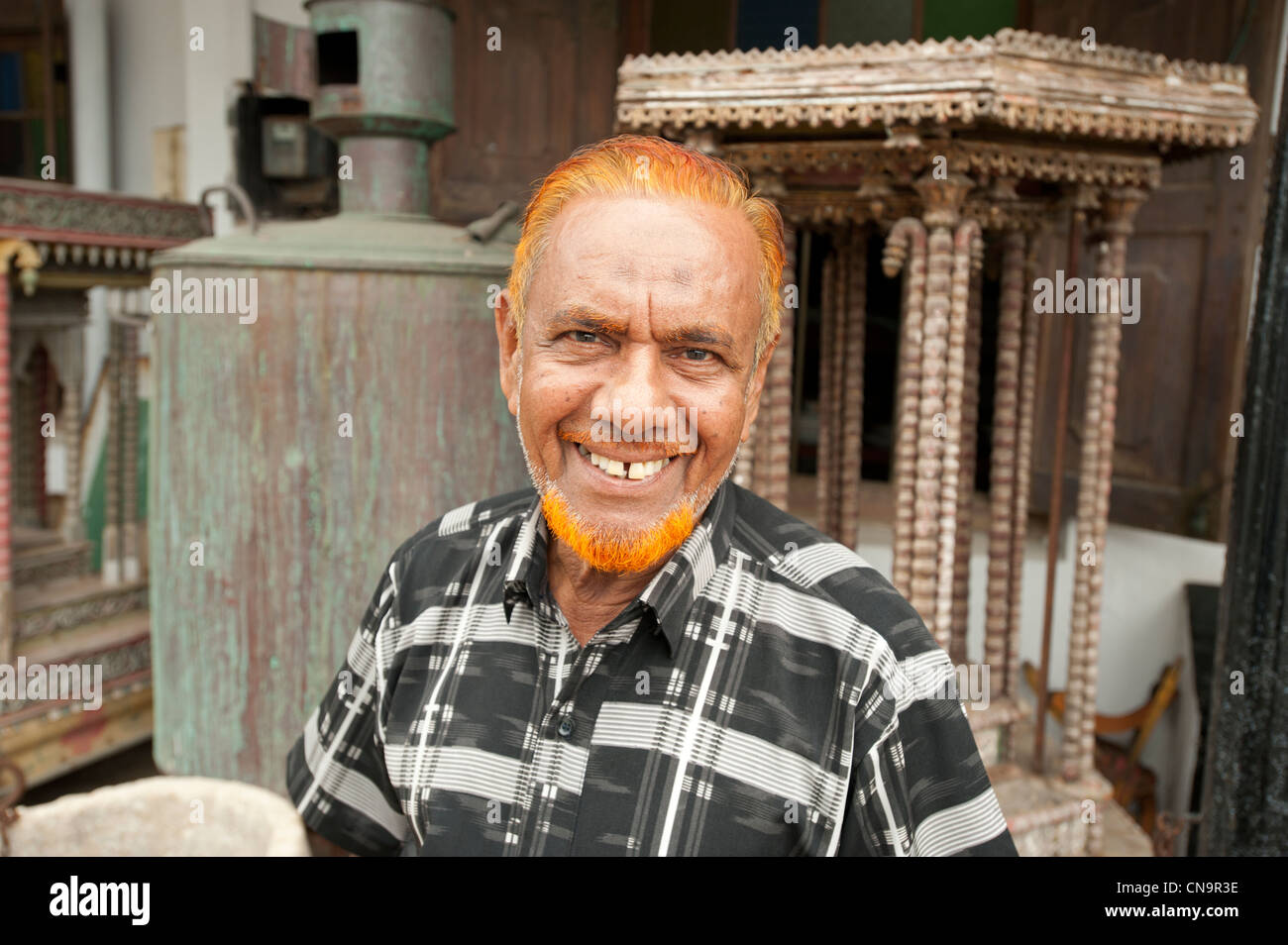 Portrait of a Muslim man with orange dyed beard and hair Glle Fort Sri Lanka - Stock Image