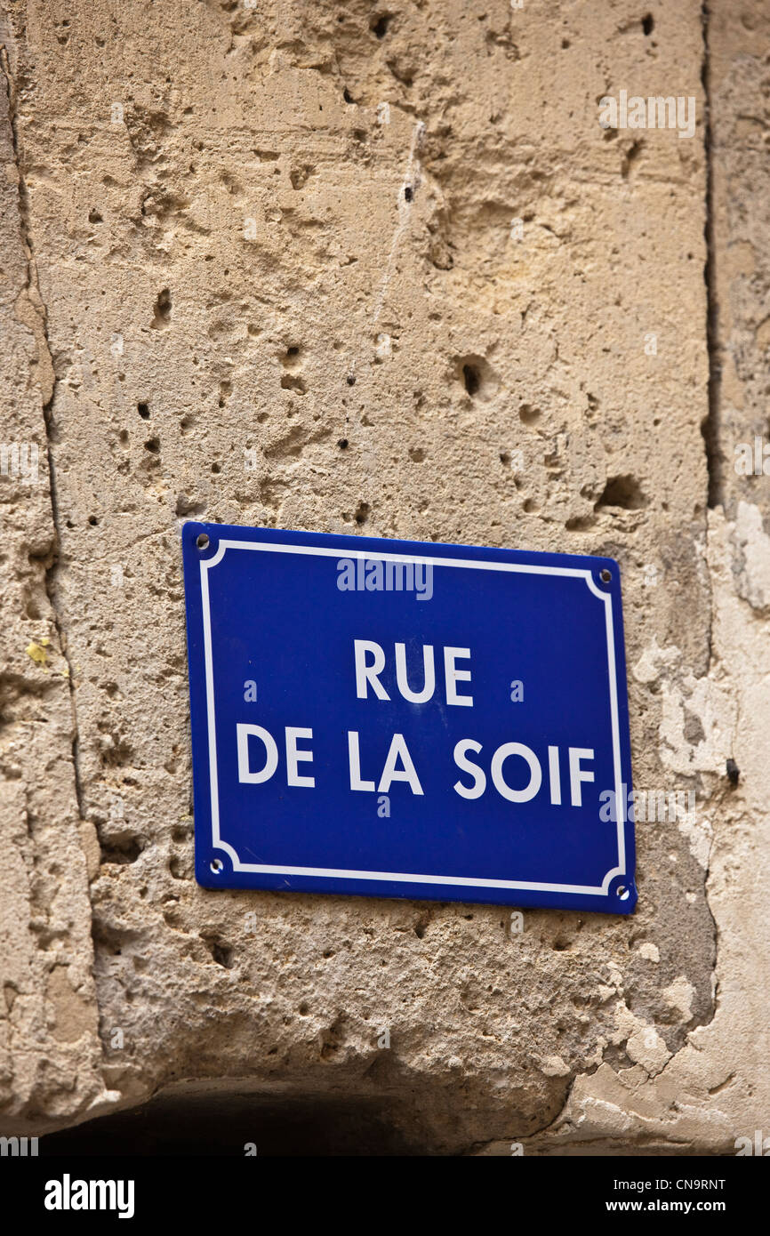 France, Gers, Fources, Street Sign, Street of Thirst Stock Photo