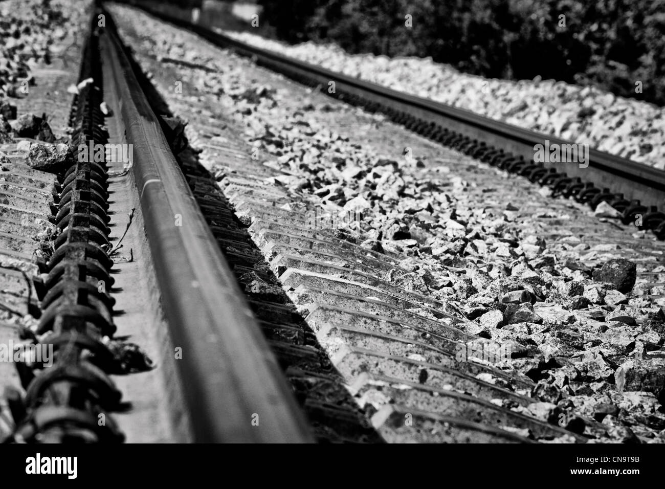 bw image of railroad train - Stock Image