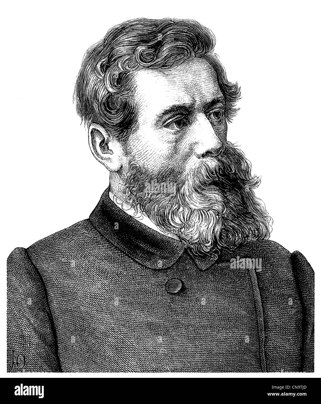 Historical drawing, 19th century, Ludwig Andreas Feuerbach, 1804 - 1872, a German philosopher and anthropologist - Stock Image