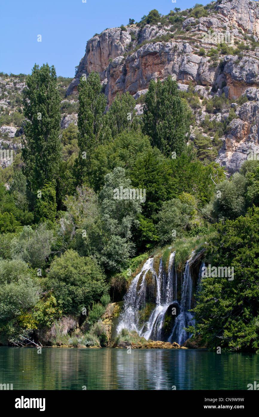 Croatia, Dalmatia, Krka National Park, Krka River Falls to Roski Slap Stock Photo