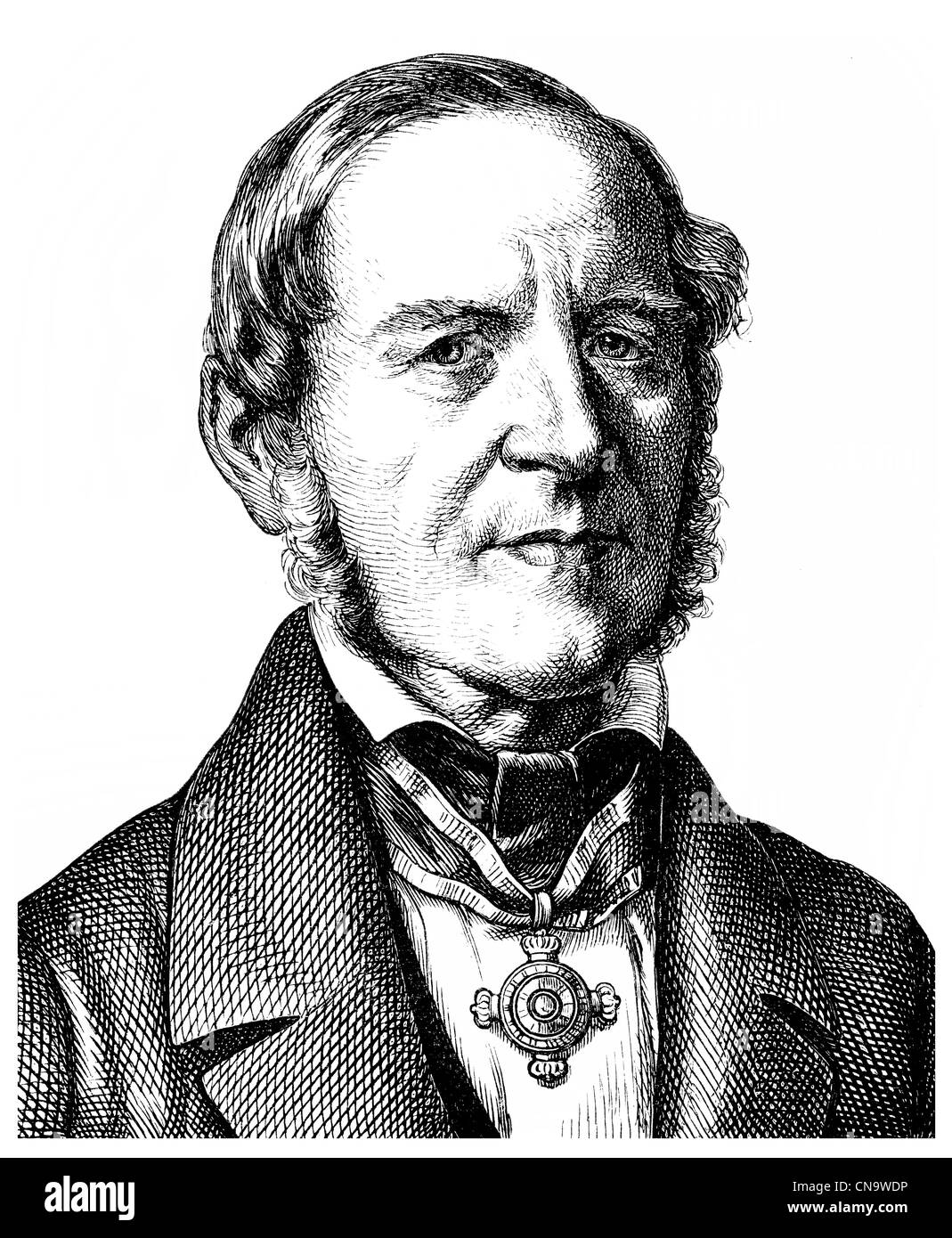 Historical drawing, 19th century, August Boeckh, 1785 - 1867, a German classical scholar and archaeologist - Stock Image