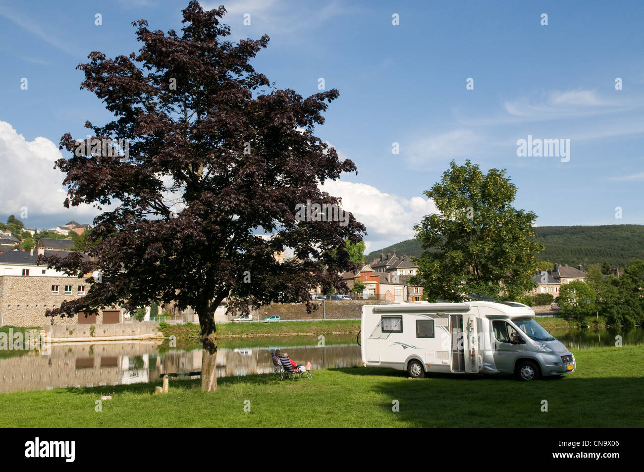 France, Ardennes, Montherme, camper on the edges of Meuse - Stock Image