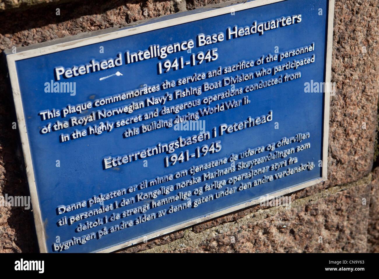 Plaque at Peterhead docks Scotland Uk dedicated to secret Stock ...