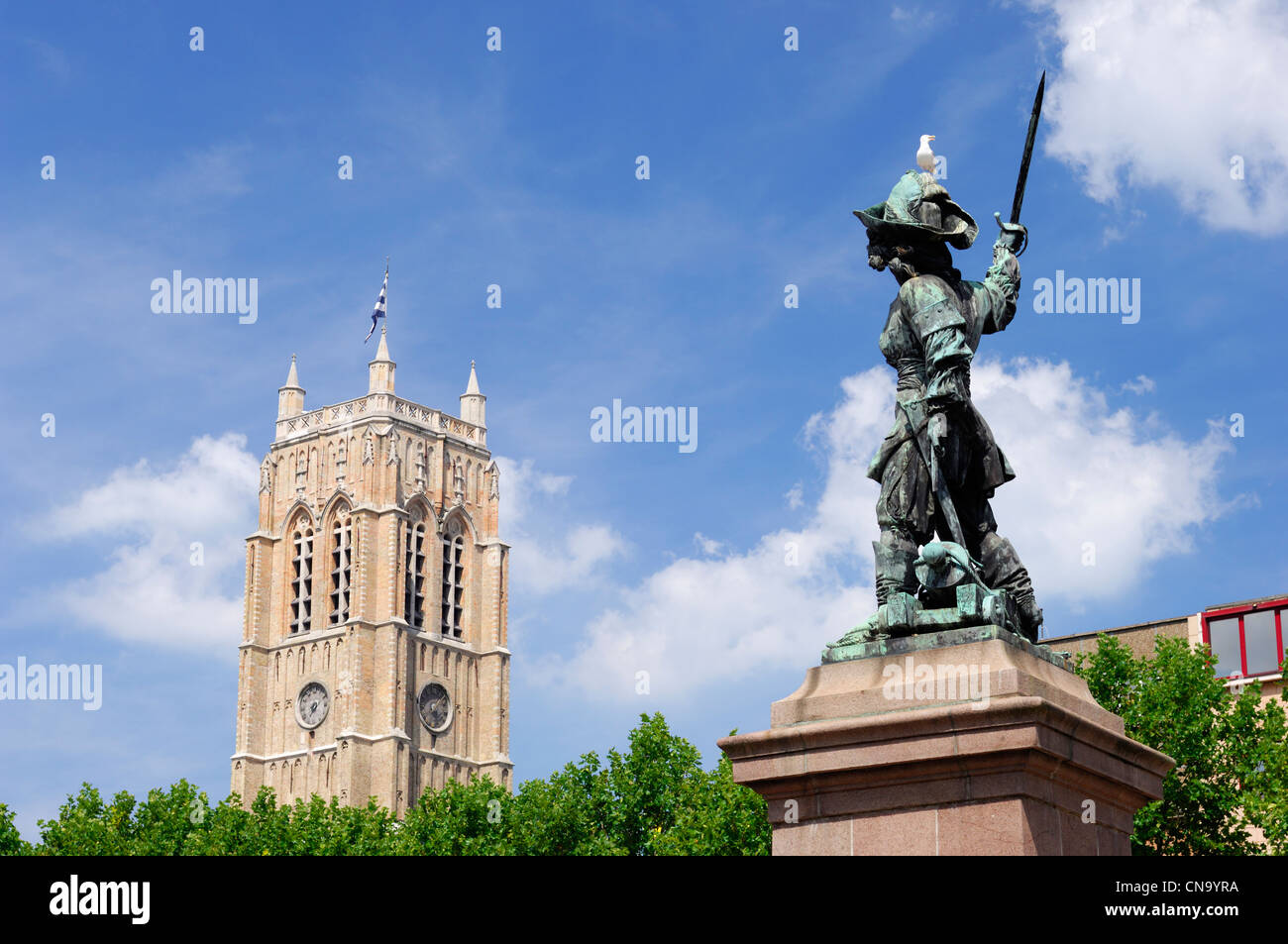 France, Nord, Dunkirk, statue of Jean Bart and the Dunkirk belfry Stock Photo