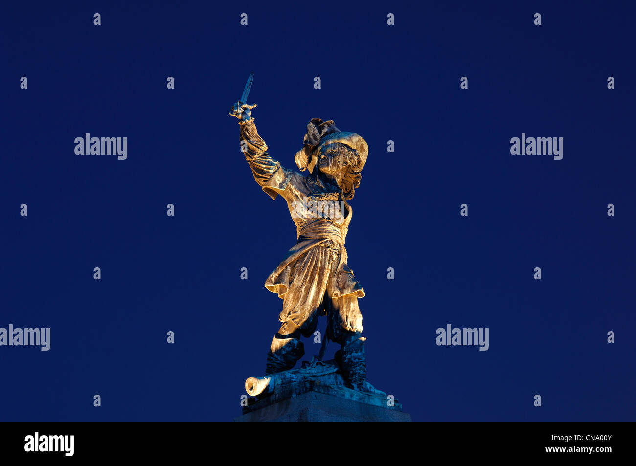 France, Nord, Dunkirk, Jean Bart statue at night at the Jean Bart place, the famous French corsair born in Dunkirk - Stock Image