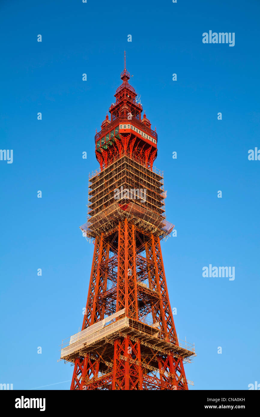 Blackpool tower with scaffolding, Lancashire. - Stock Image