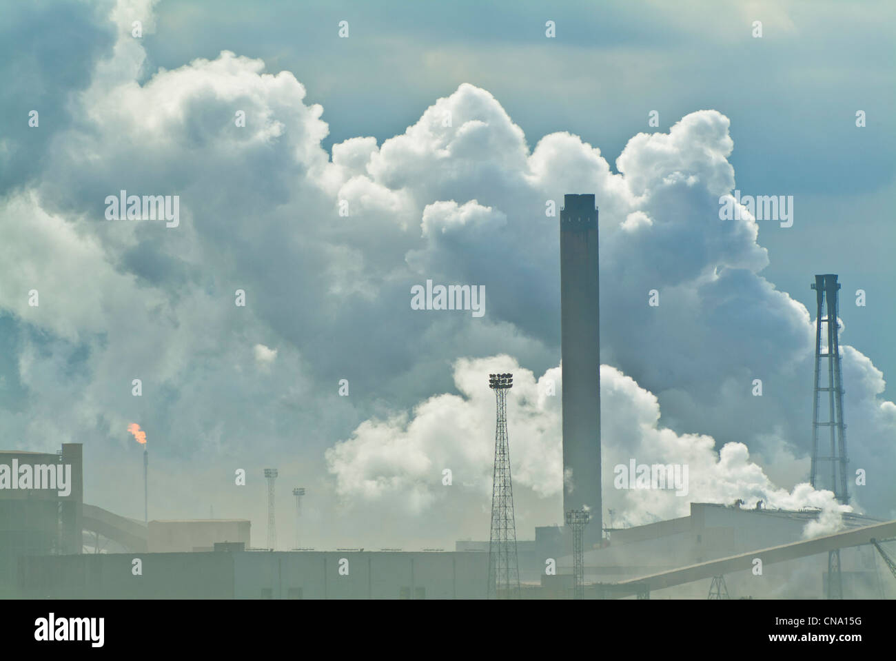 Steam and smoke from the steel works at Redcar North Yorkshire northumbria border England UK GB EU Europe - Stock Image