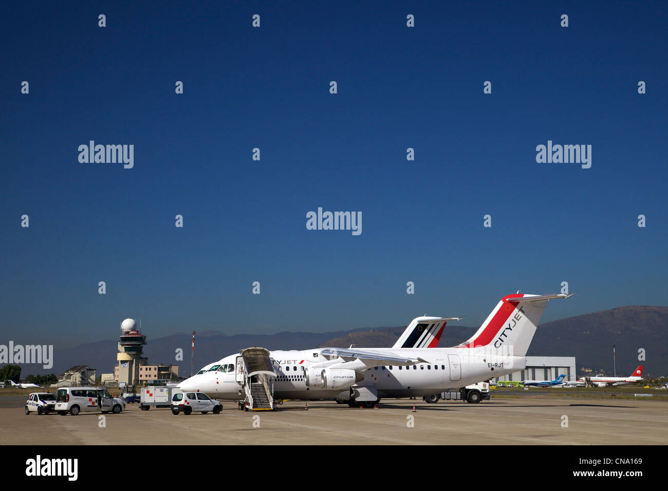 Cityjet aircraft on stand at Florence Airport, Tuscany, Italy, Europe - Stock Image