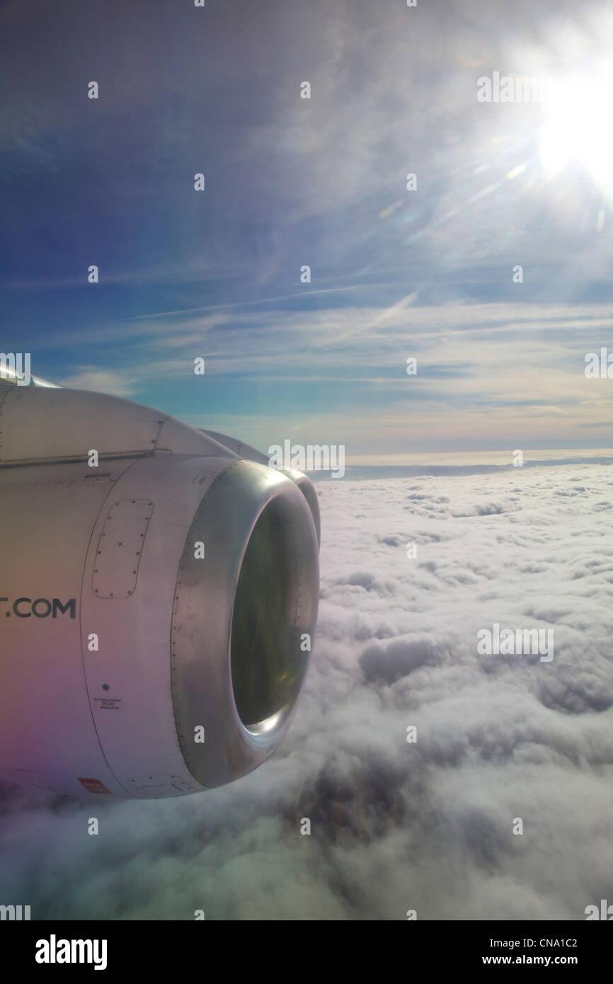 Cityjet aircraft on flight above clouds - Stock Image